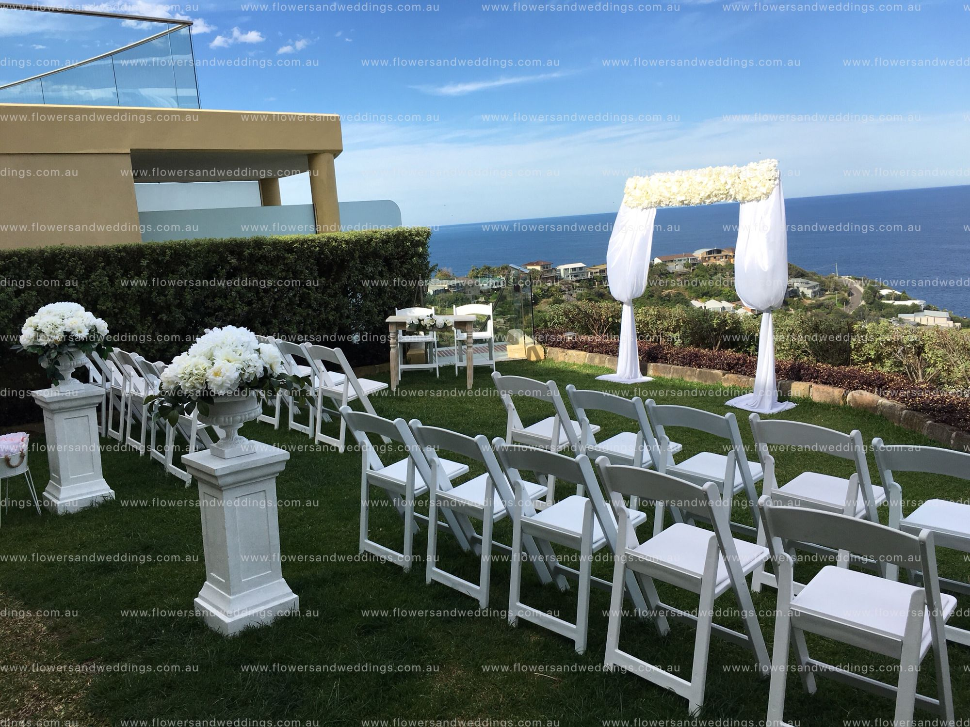 Ceremony Floralarch Arch Urn Pedestals White Chairs Vintage Table Home Flowers Wedding Flowers Sydney Wedding