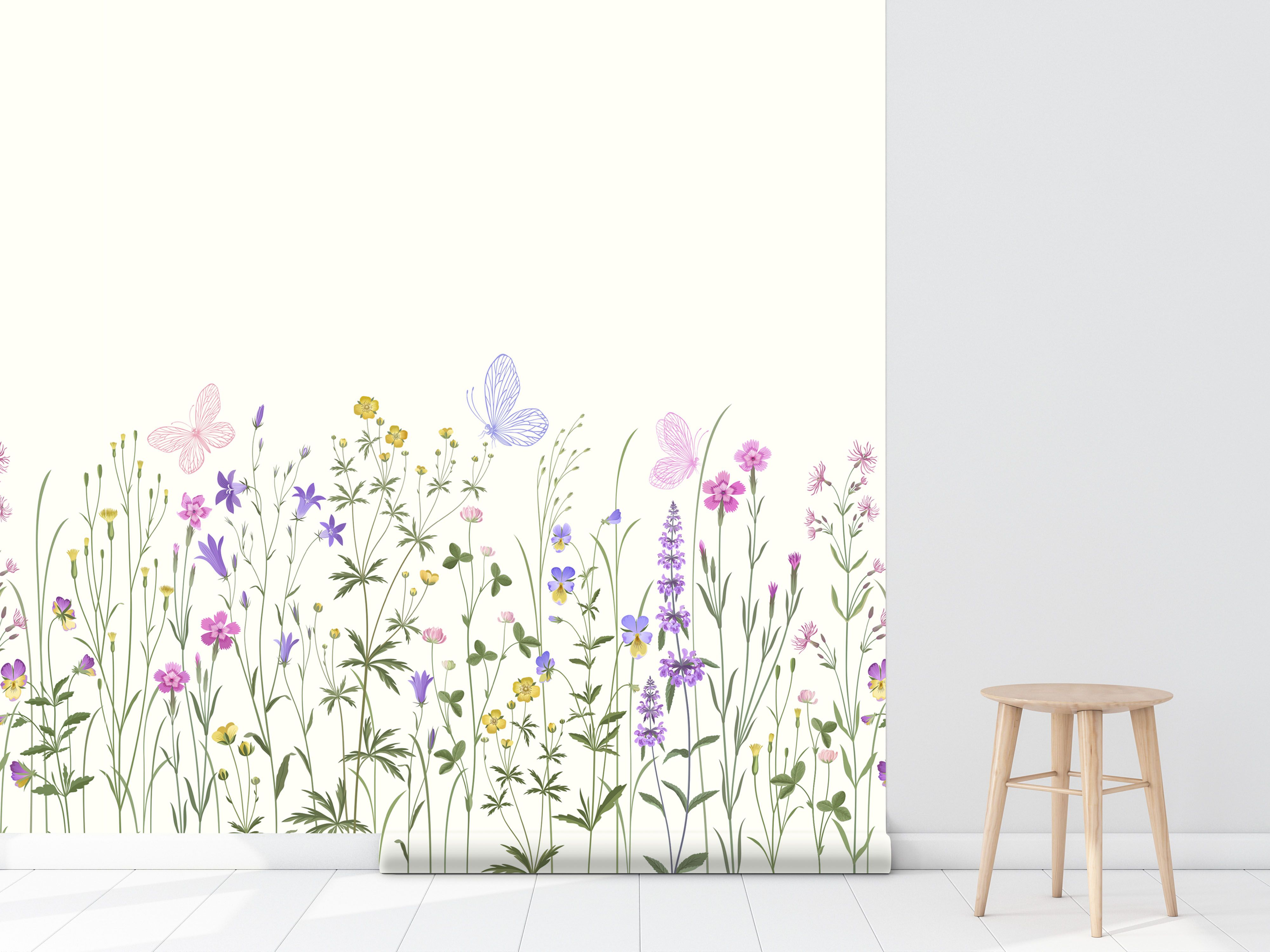 Floral Wallcovering By Green Planet Print Self Adhesive Pre Pasted Wallpaper Nursery Floral Decor Butterfly Wallpaper Self Adhesive Wallpaper Wallpaper