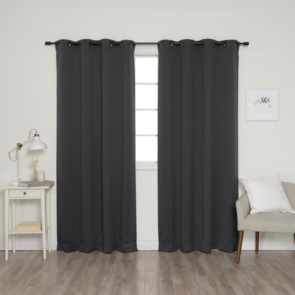 Best Home Fashion 84 In L Onyx Grommet Blackout Curtains In Dark