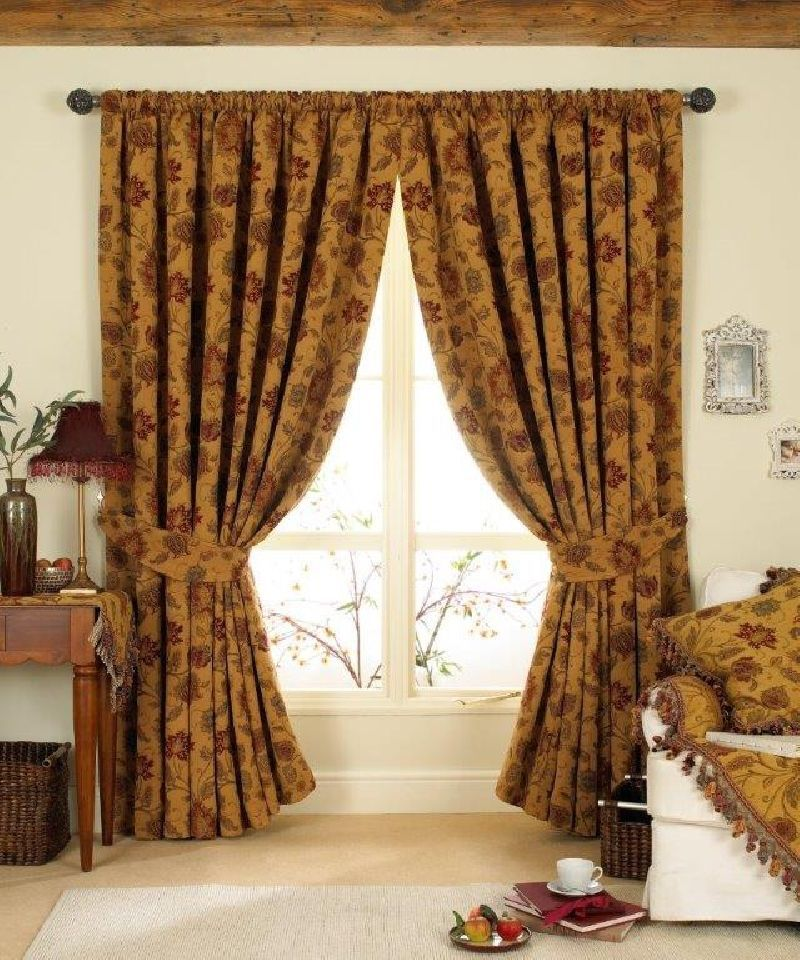 LUXURIOUS RED GOLD TAPESTRY CHENILLE 66 X 90 PENCIL PLEAT THICK CURTAINS