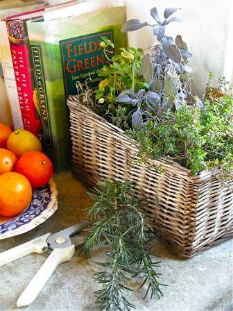 kitchen windowsill herb basket
