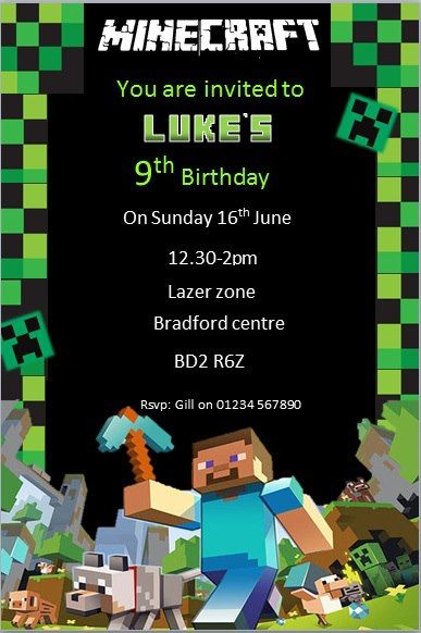Personalised Birthday Party Minecraft Invites Invitations