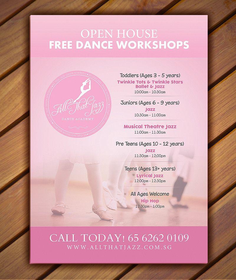 Open House Flyer Dance Studio Design Graphic . Dancin'