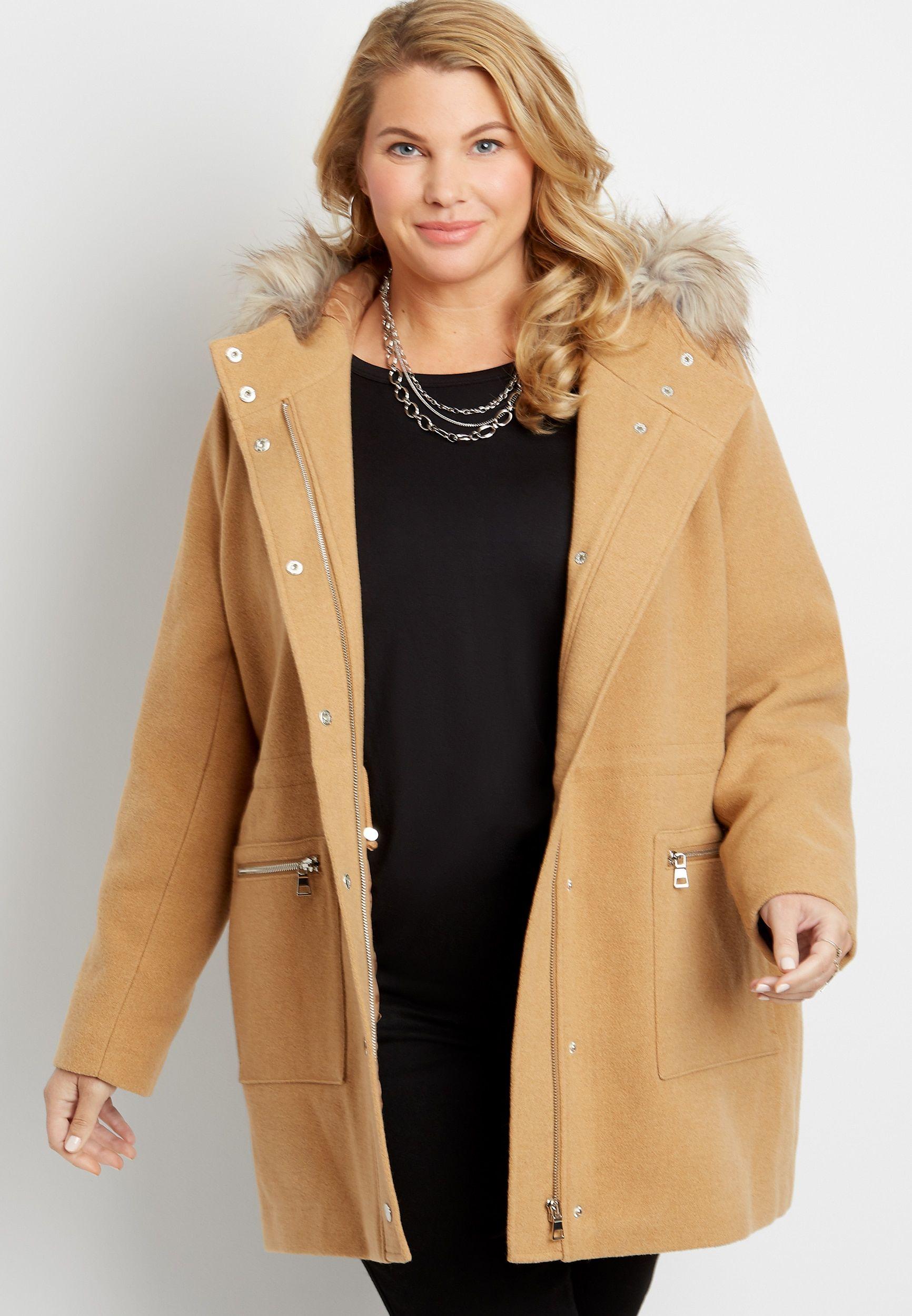 Plus Size Solid Faux Fur Trim Hooded Outerwear Jacket Hooded Outerwear Outerwear Jackets Plus Size Outerwear [ 2500 x 1732 Pixel ]