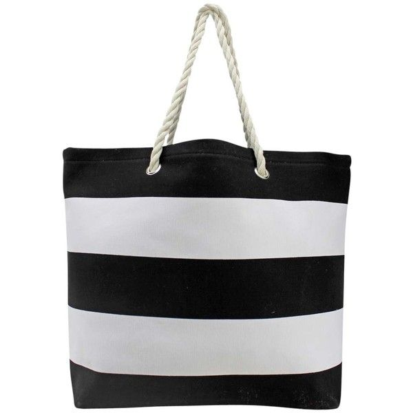 Black & White Wide Stripe Deluxe Oversize Beach Tote Bag ($27) ❤ liked on Polyvore featuring bags, handbags, tote bags, purses, totes, fashion bags, beach tote, beach bag tote, man bag and beach bags