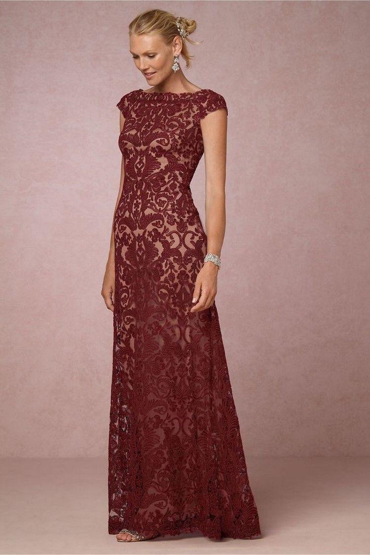 figurbetontes Kleid in dunkelrot und nude | Hochzeit | Pinterest ...