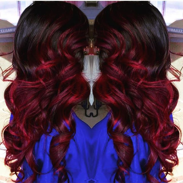 Brunette Hair With Bright Red Highlights Long Curly Brunette Hair