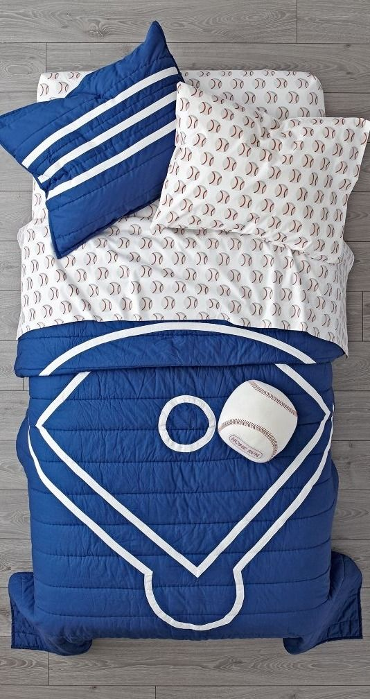 shop nod baseball bedding our nod baseball bedding is so great its ready to go pro made from comfy 100 cotton the blue quilt is uniquely designed to - Baseball Bedding