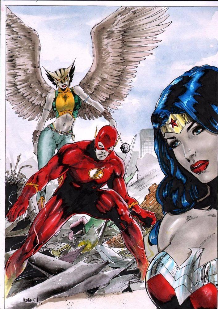 Dc Comics Justice League Original Art Wonder Woman Flash Hawkgirl Batman Aquaman Justice League Hawkgirl Dc Comics