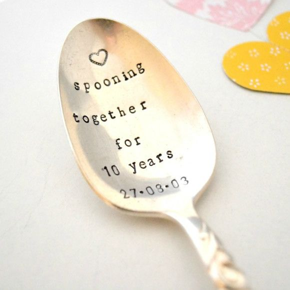 Wedding Gifts Chicago: Hand-stamped Vintage Anniversary Spooning Together Spoon