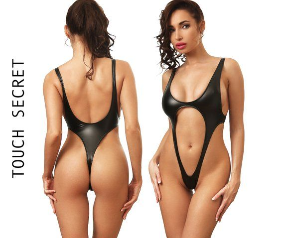 c4a77e92faf8f Sexy one piece swimsuit Bodysuit thong Bathing suit Women erotic swimwear  Extreme black monokini Che