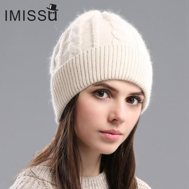 f46c3095279 IMISSU 2017Spring Autumn   Winter Beanies Women s Hats Knitted Wool Casual  Cap Solid Colors Design Fashionable Girls hats