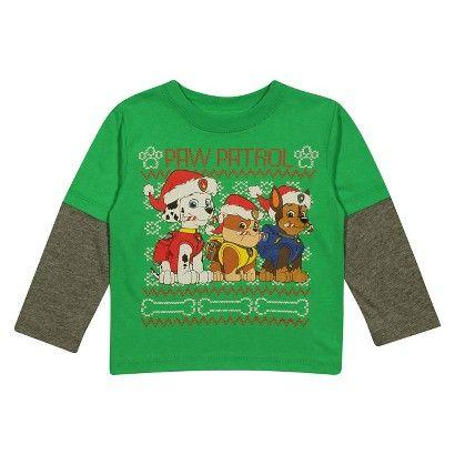 Paw Patrol Nickelodeon Holiday Christmas Boy Long Sleeve Shirt