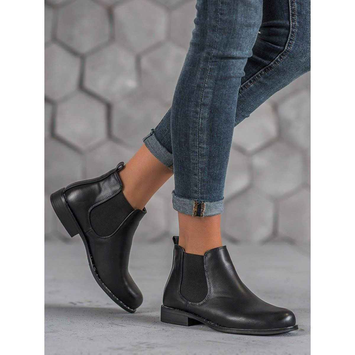 Small Swan Klasyczne Sztyblety Czarne Chelsea Boots Boots Shoes