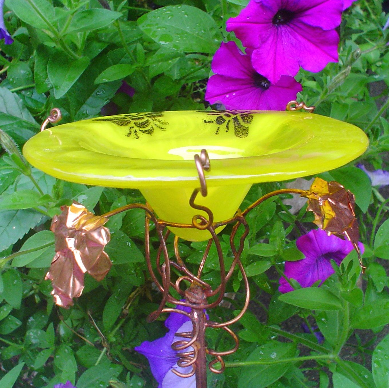 Bees Glass Butterfly Feeder Yellow And Black By Gloriasglassgarden