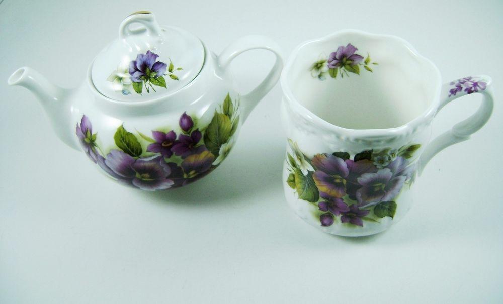 Royal Patrician Set Bone China Small Tea Pot Mug Pansies (C85/86) #RoyalPatrician