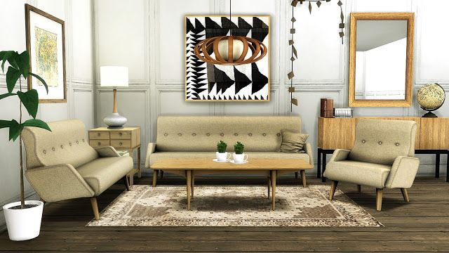 Sims 4 CC's - The Best: Awesims Retro Modern Living Room Set Conversion by...