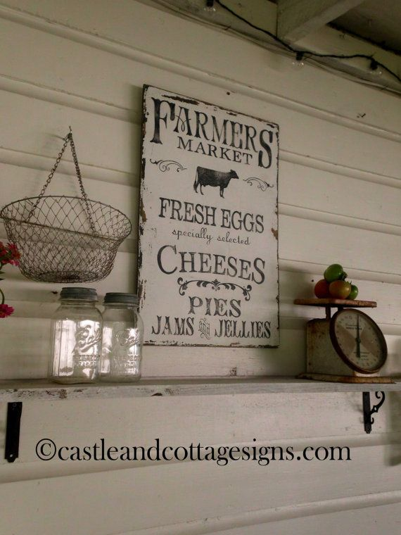 Farmers Market Sign Farmhouse Kitchen Kitchens Vintage Country Rustic