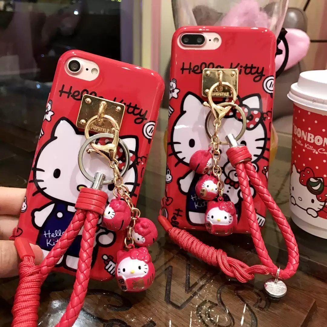 Cartoon Hello Kitty Red Case W Small Kt Strap Pendant For Iphone6/6S/6P/6Sp/7/7P