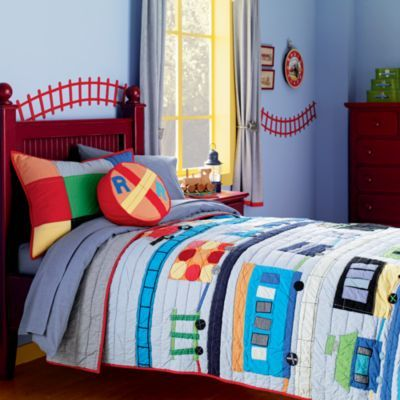 Railroad bedding for train theme kids rooms toddler boy room ideas pinterest train room for Toddler train bedroom