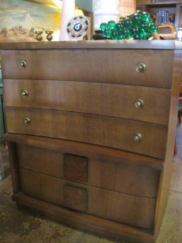 Best 1956 Highboy Dresser By Bassett Furniture Five Drawers Original Brass Hardware Curved Drawer 400 x 300