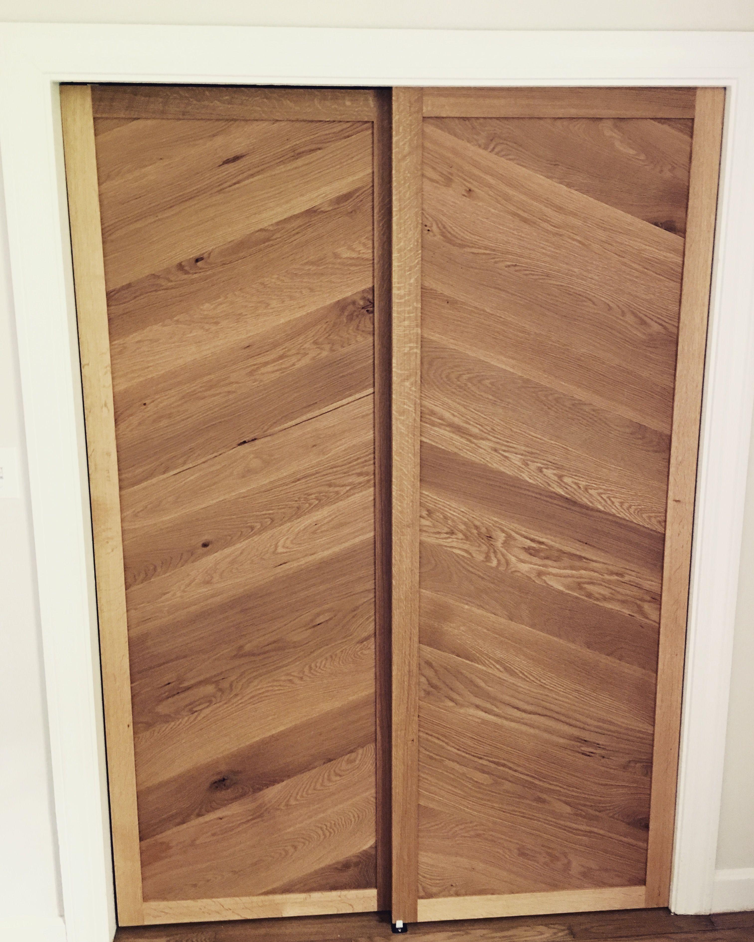 white sliding barn doors. Herringbone White Oak Sliding Barn Doors For Closet. I