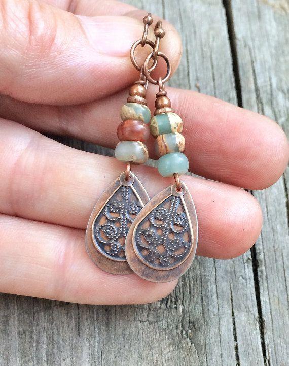 Photo of Copper Dangle Earrings, Stone Earrings Dangle, Copper Jewelry Earrings, Natural Stone Earrings, Opal Stone Jewelry, Earthy Earrings