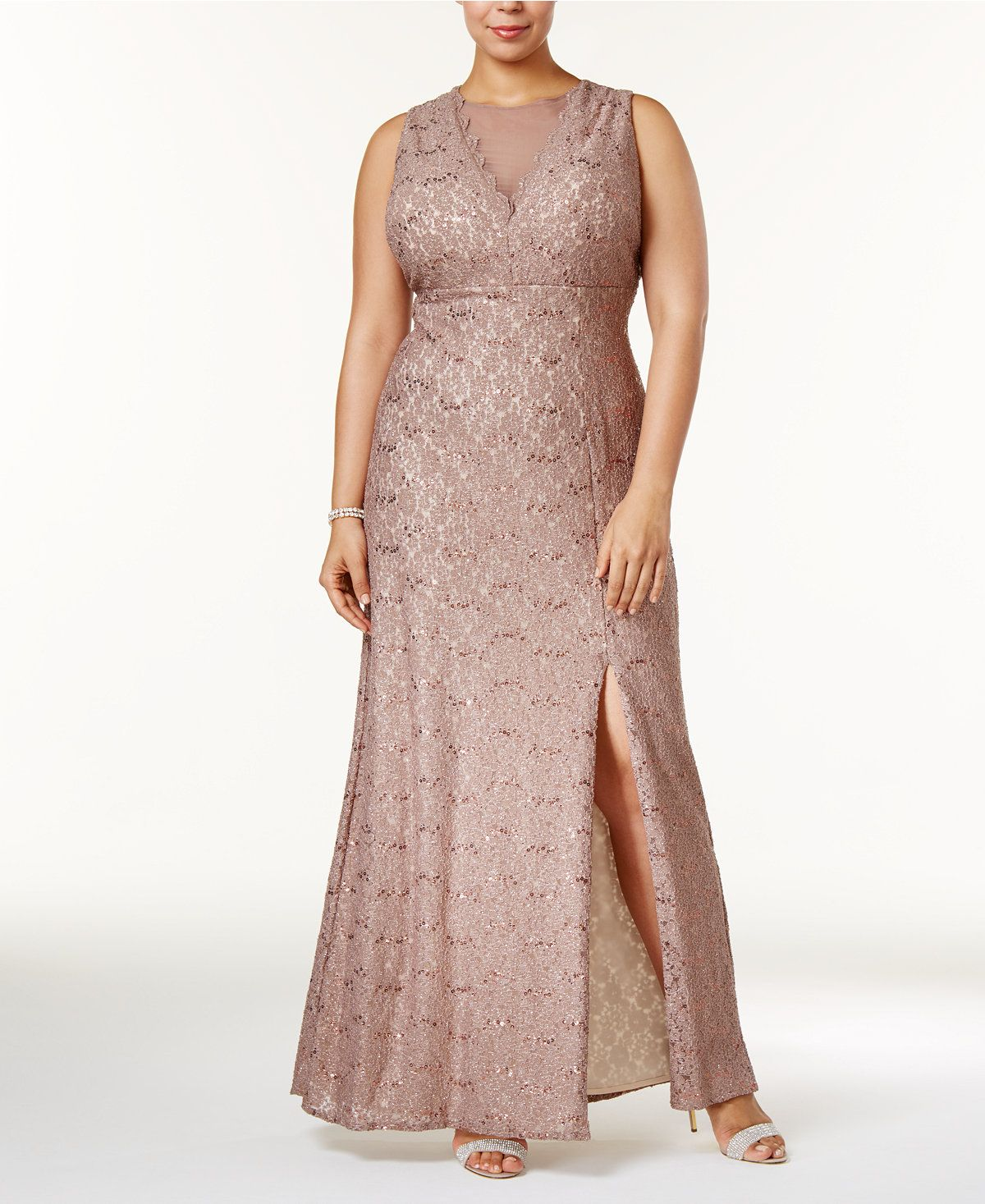 Plus Size Illusion Glitter Lace Gown | Pinterest