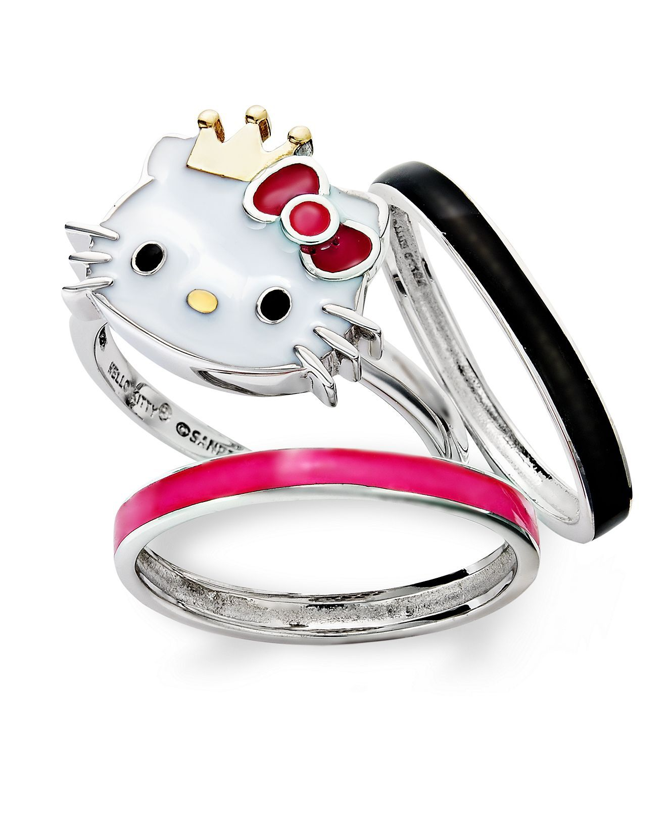 hello kitty sterling silver and gold over sterling silver ring set crystal princess kitty rings rings jewelry watches macys - Hello Kitty Wedding Ring