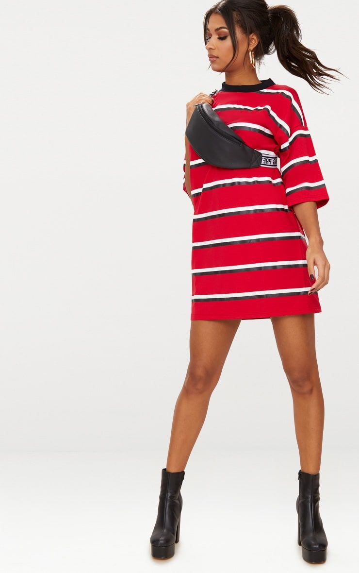 Red Contrast Stripe Oversized Boyfriend T Shirt Dress  67ce6dde5d