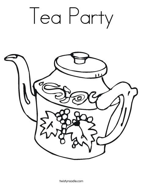 Tea Party Coloring Page Twisty Noodle Happy Birthday Coloring