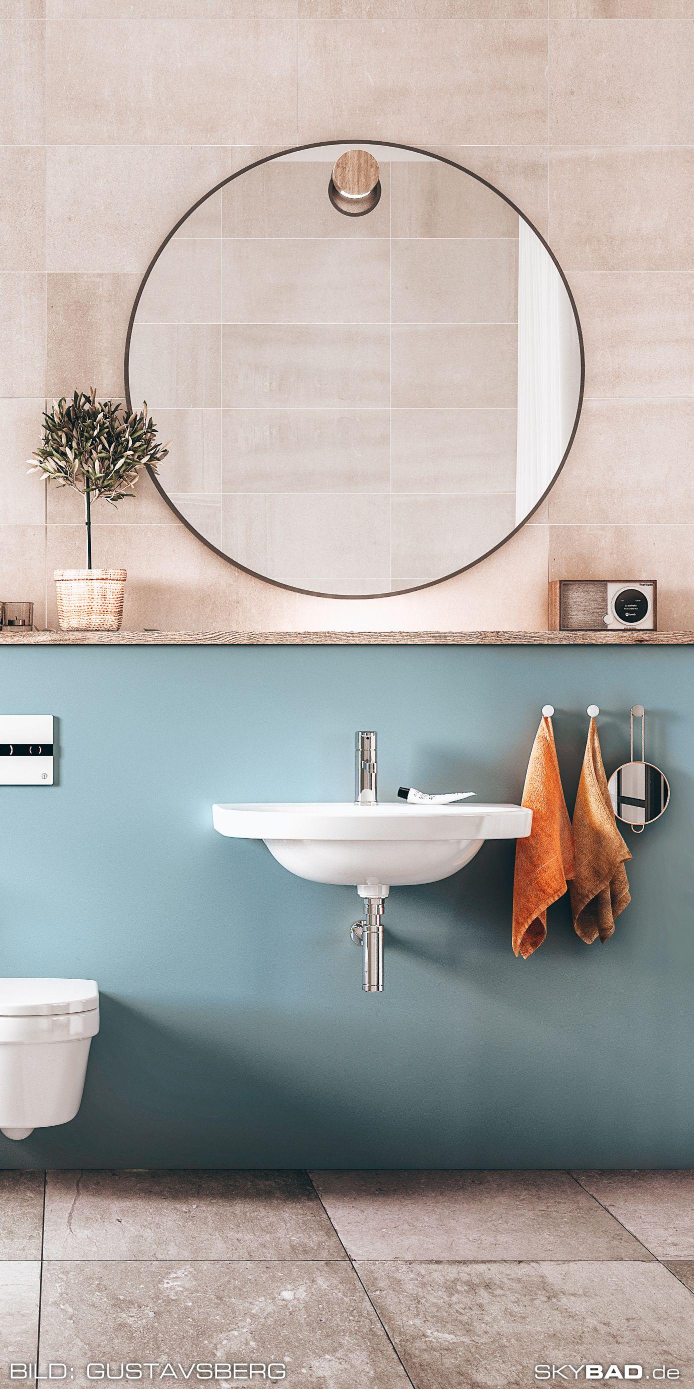 Badezimmer Verschonern Mit Rundem Vintage Spiegel Skybad De In 2020 Gaste Wc Modern Badezimmer Mit Schrage Lampen Bad