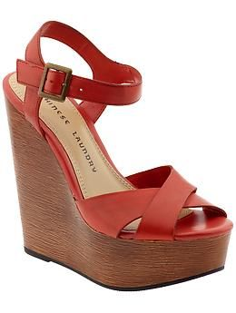 Chinese Laundry Join Me Piperlime Red Leather Shoes Womens Shoes Wedges Shoes