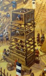 A siege tower is being dragged along by local peasants and constructed to protect assailants and ladders while approaching. The tower allow archers to stand on top and shoot into the ennemy fortification. Siege towers were used to get troops over an enemy wall, when a siege tower was near a wall, it would drop a gangplank between it and the wall.