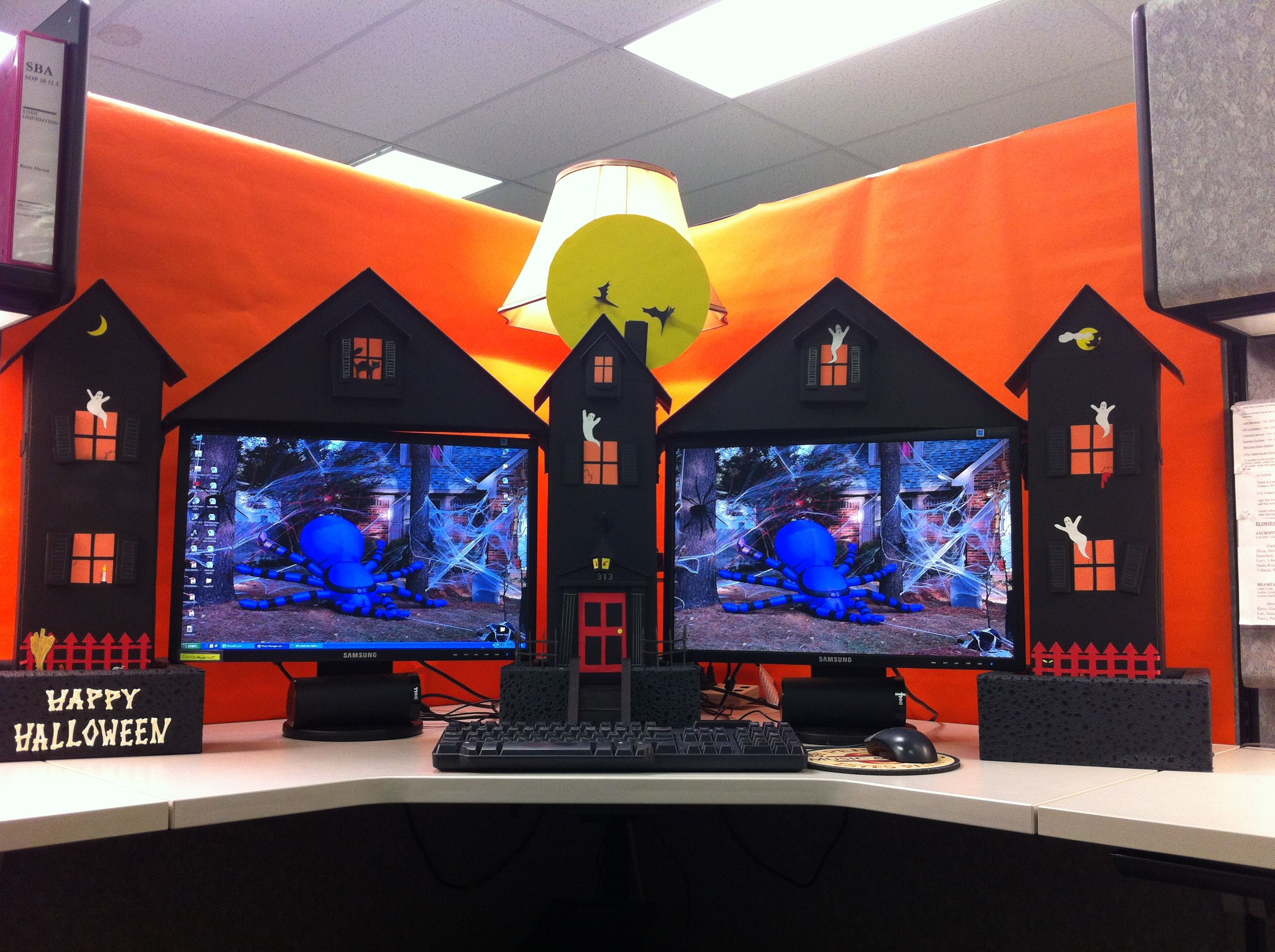 My Cubicle Workspace Built By My Clever Husband Office Halloween Themes Office Halloween Decorations Halloween Office