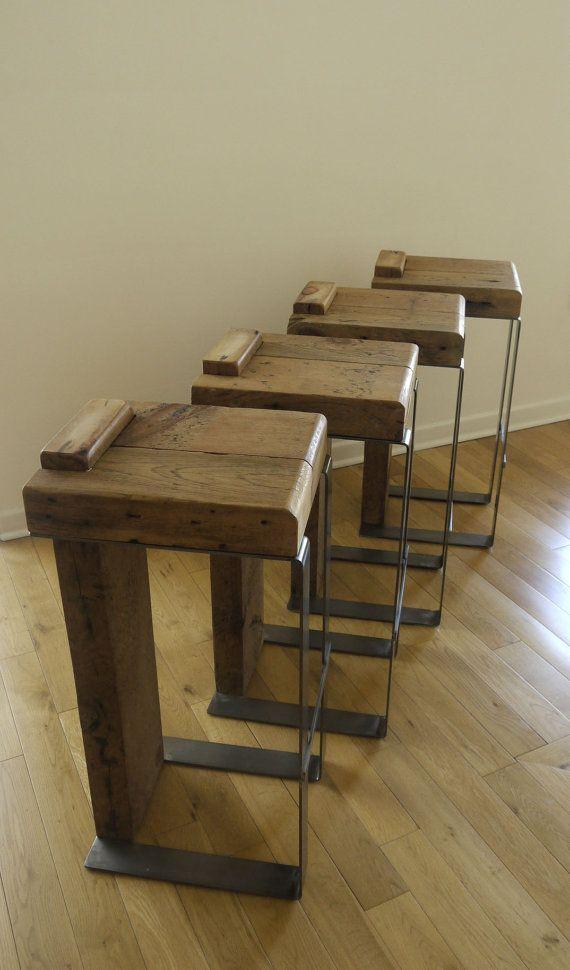 Rustic Bar Stool Reclaimed Wood Metal Bar Stool Industrial Bar