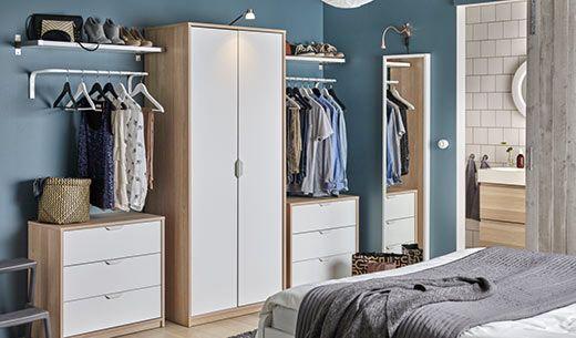 Kleiderschrank Askvoll Eicheneffeckt Weiss Lasiert Schlafzimmer Aufbewahrung Ikea Schlafzimmer Schlafzimmer Ideen