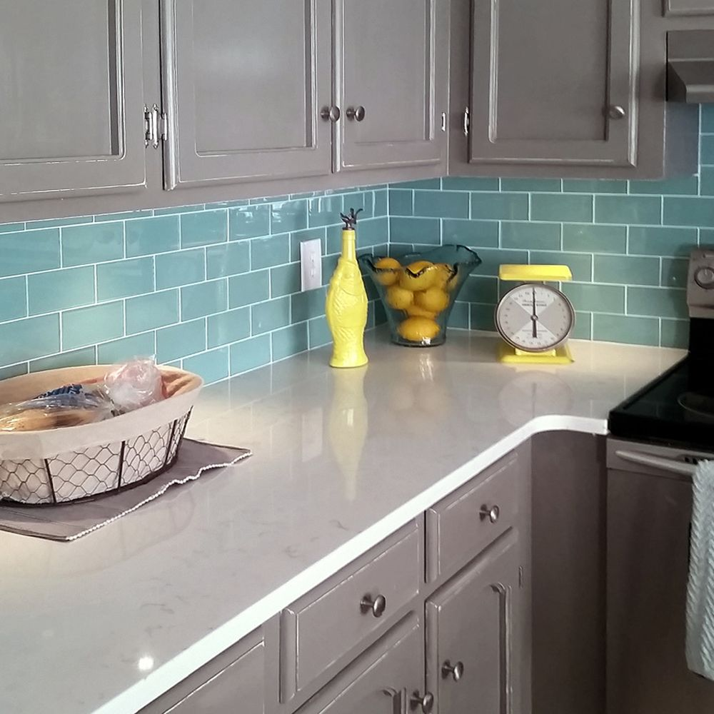 Sage Green Glass Subway Tile In 2020 Trendy Kitchen Backsplash