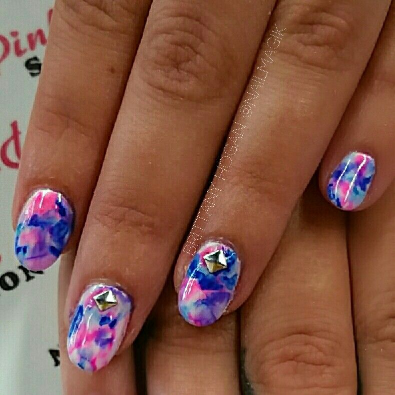 Sharpie Watercolor Nail Art Over Gel Polish Salon Pinterest