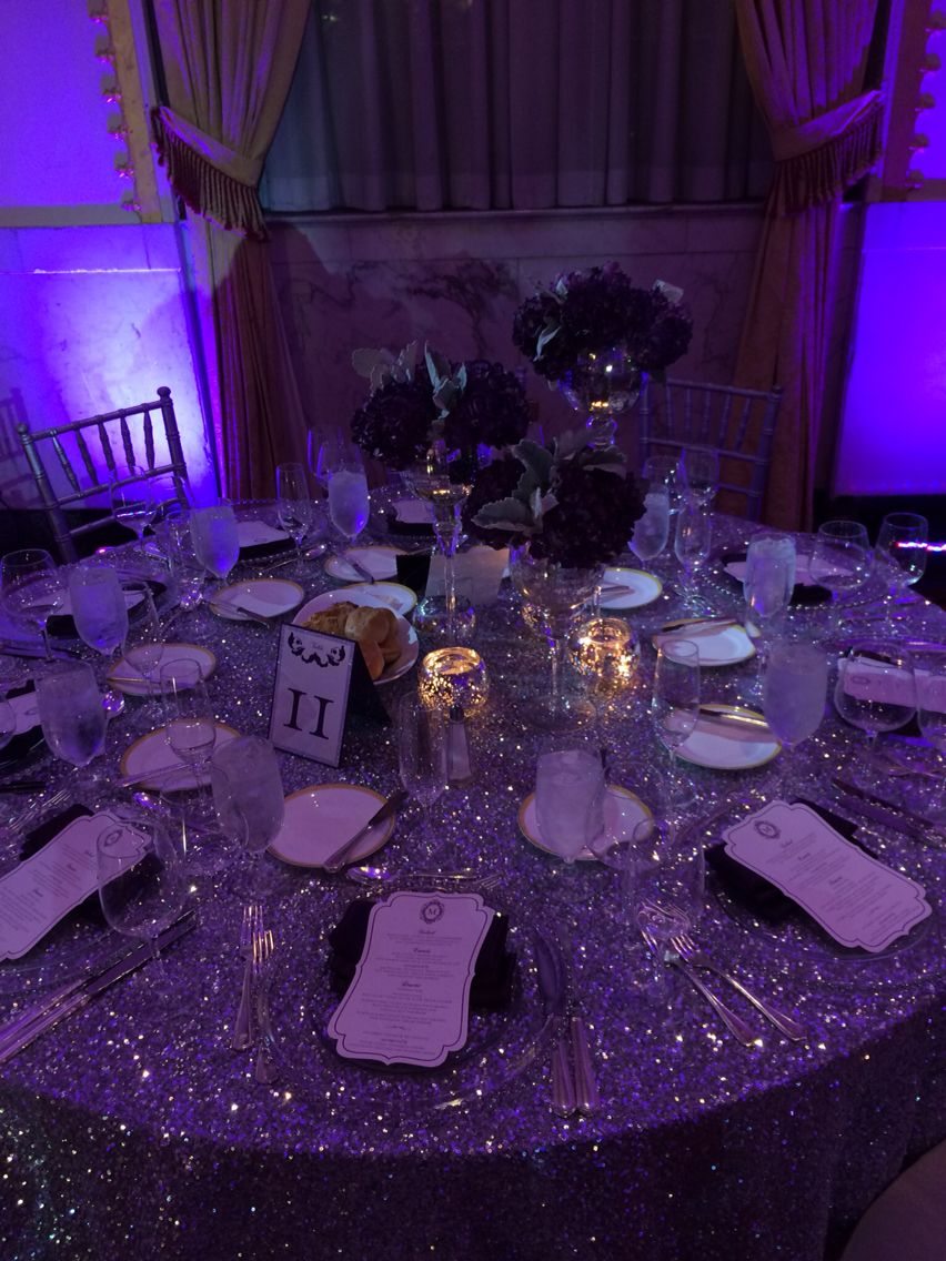 silver sequins table linen decor leamber christopher wedding the mayflower hotel wedding - Violet Hotel Decor