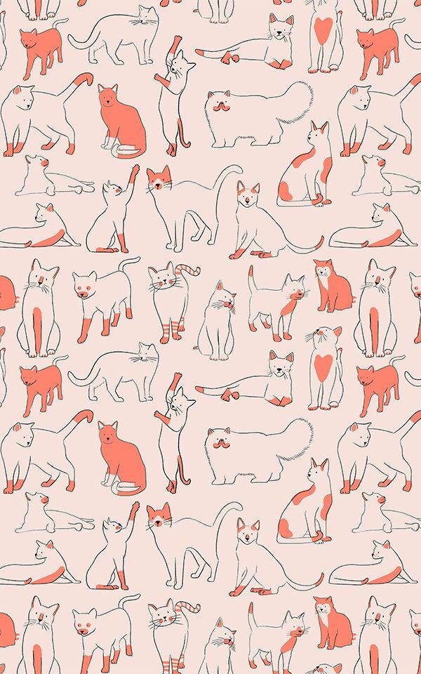 Red Cool Cat Pattern Wallpaper Mural