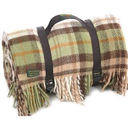 Tweedmill Polo Pure New Wool Picnic Rug With Fringe Webb Straps Cottage Country Brown Backing