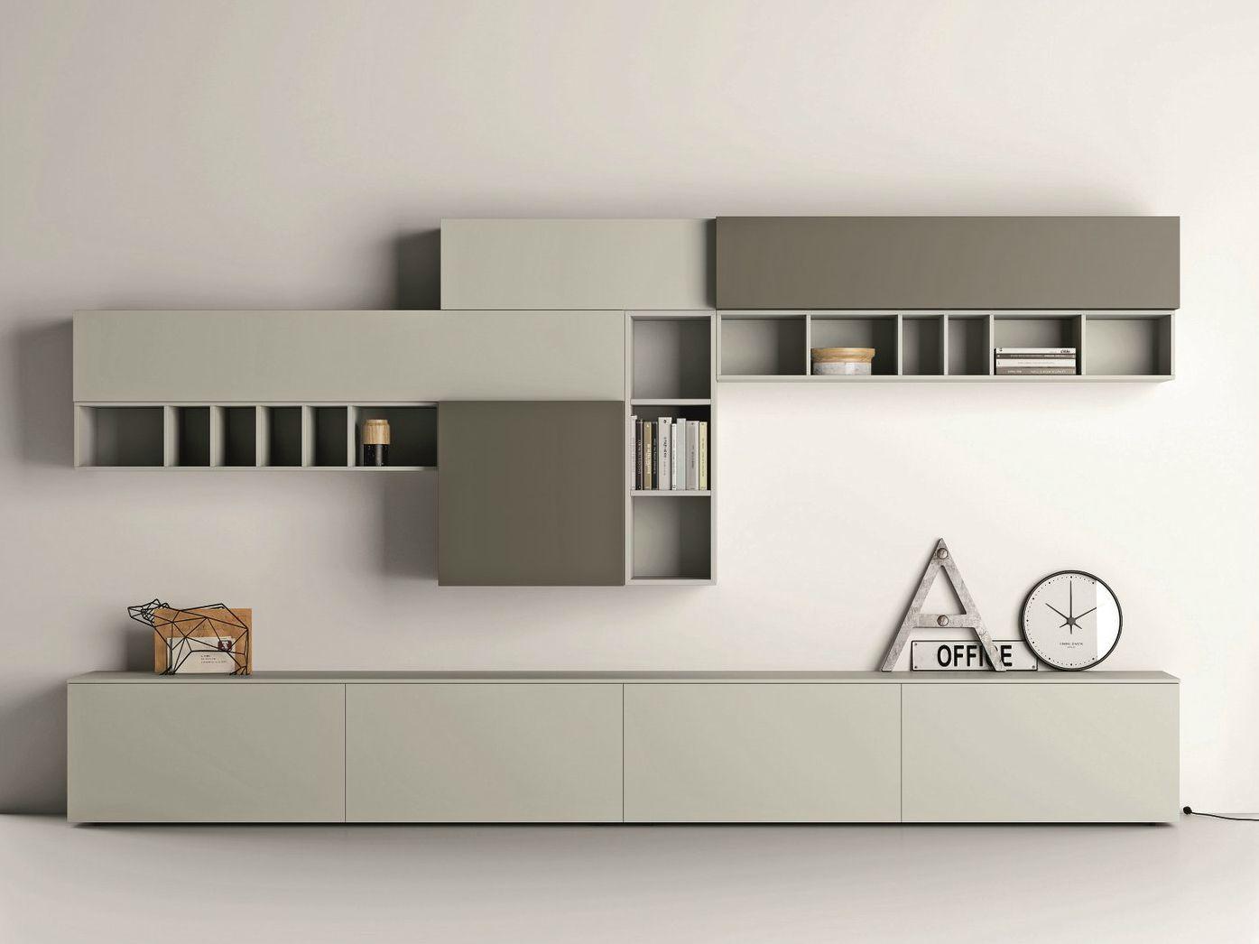 Mueble Modular De Pared Composable Lacado Slim 89 Colecci N Slim  # Meuble Tv Composable Design