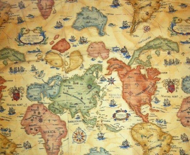 Design fabric braemore textiles old world map fabric map fabric design fabric braemore textiles old world map fabric gumiabroncs Gallery
