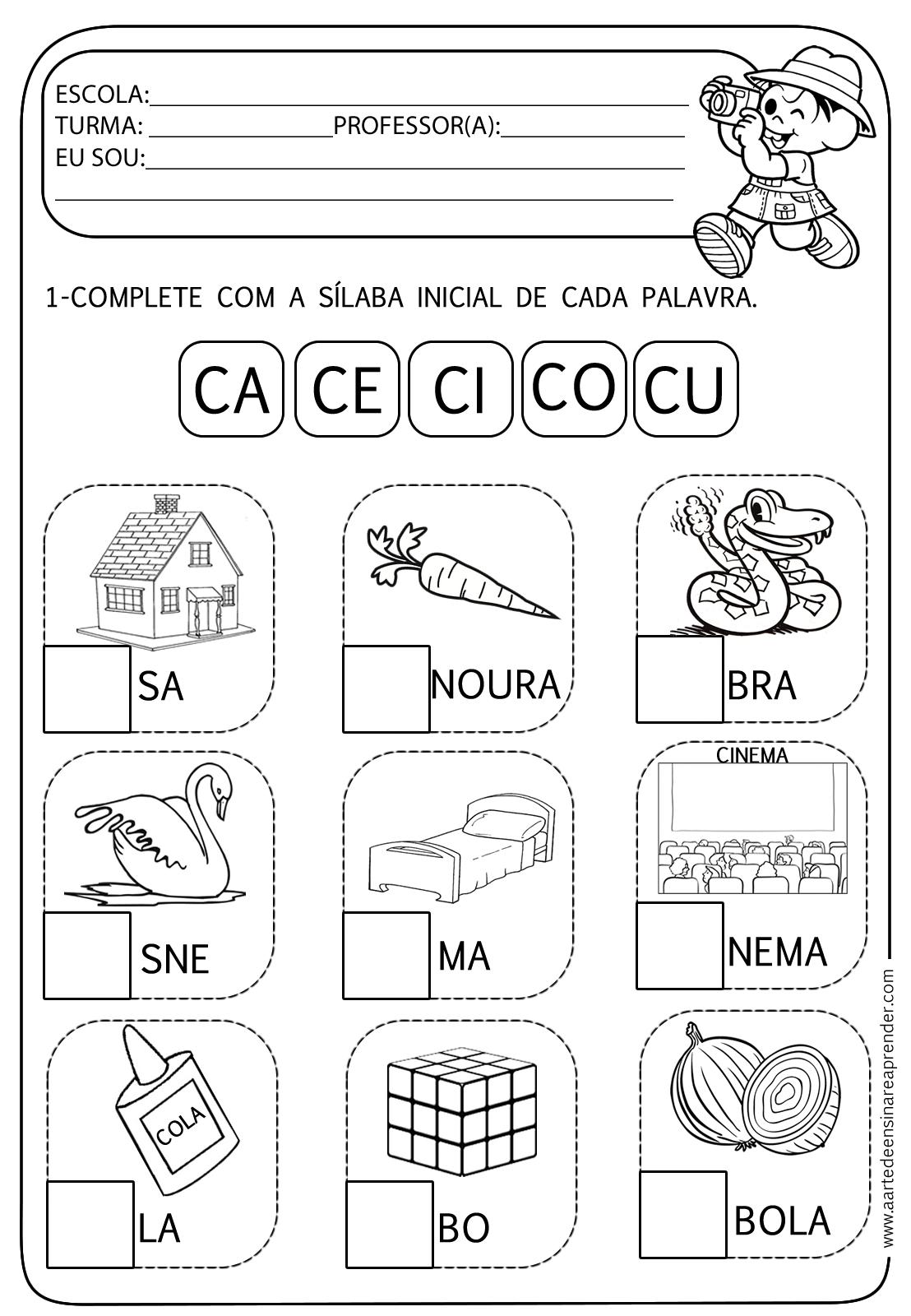 Favoritos Atividade pronta - Família silábica C | Ensinar, Atividades e  FC97
