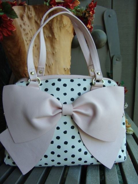 2617341ac834 BETSEY JOHNSON XOXO oversize PINK BOW black white POLKA DOT HANDBAG purse  NEW  BetseyJohnson  TotesShoppers