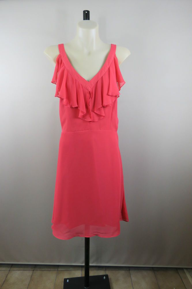 Size 16 XL Ladies Dress Sleeveless Coral Spring Feminine Cocktail High Tea Style
