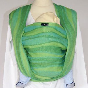 DIDYMOS Woven Wrap Baby Carrier Waves Lime Organic Cotton Size 5