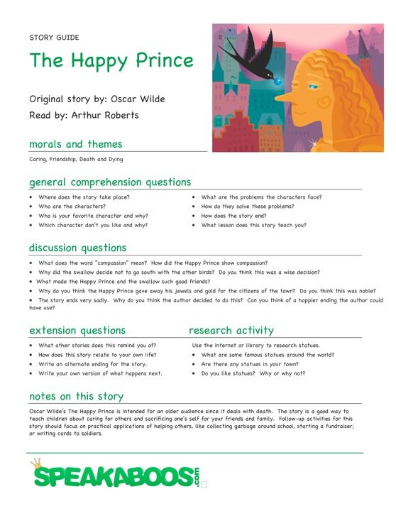 Lesson Plans: The Happy Prince | Speakaboos #Worksheets #education ...