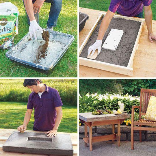 Make a Hypertufa Table Top | Cemento, Jardín y Jardinería